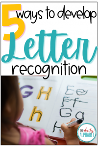 Letter recognition is one of the learning cornerstones of kindergarten! Here are 5 easy ways to help develop letter recognition in your classroom!